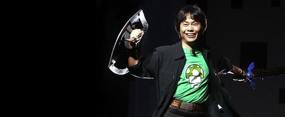 Shigeru Miyamoto Legend of Zelda pose