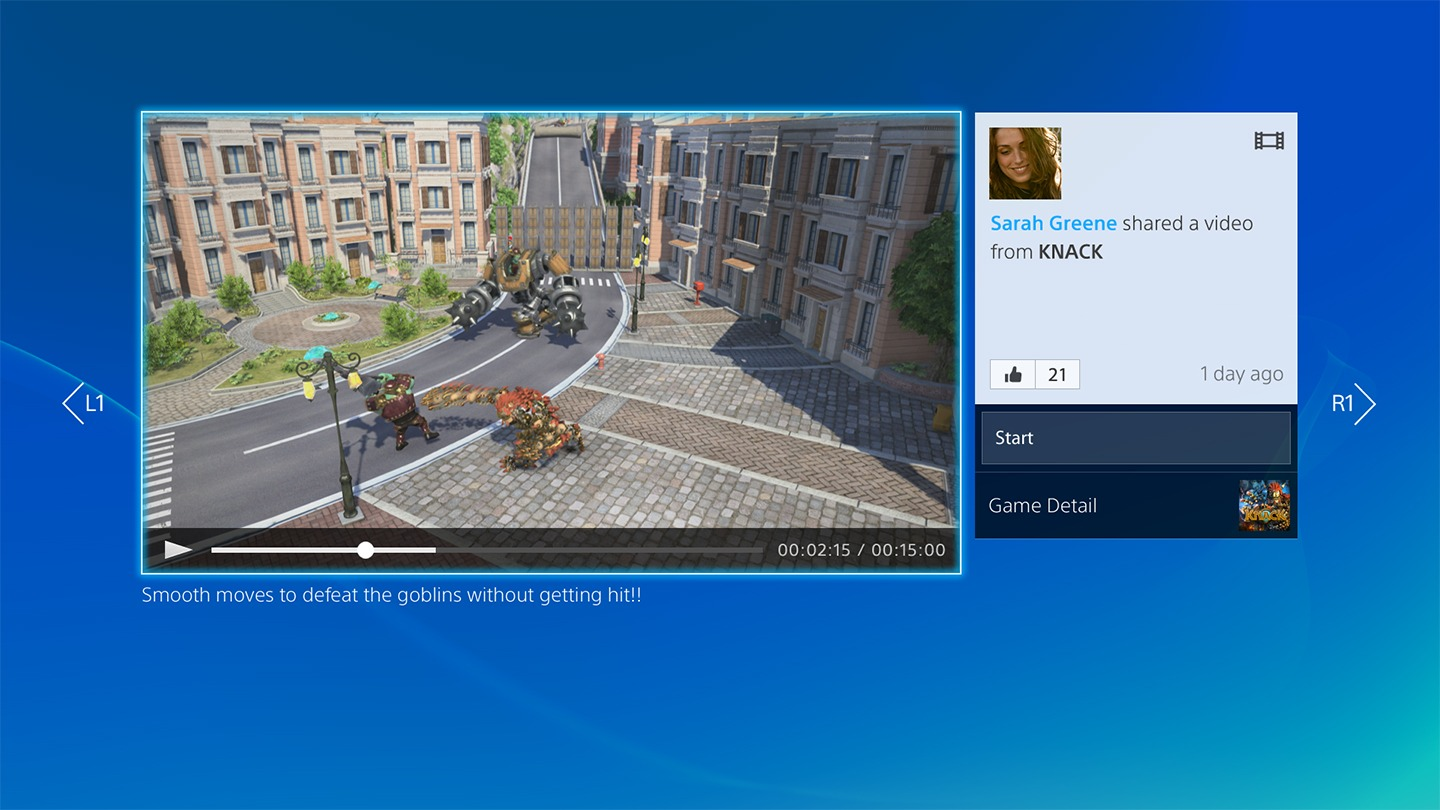 """PS4 interface: """"Gallery View Video"""""""