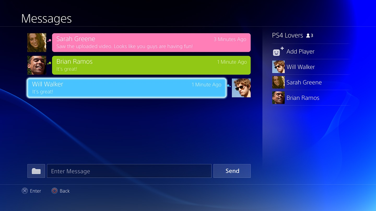 "PS4 interface: ""PS4 Messages"""