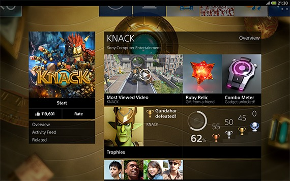 "PS4 interface: Tablet App ""Live Detail View"" thumbnail"